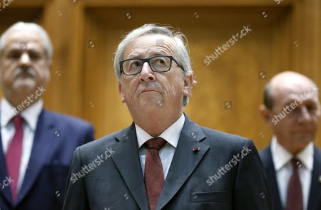 Stock Image of Jean-Claude Juncker, Adrian Nastase and Traian Basescu