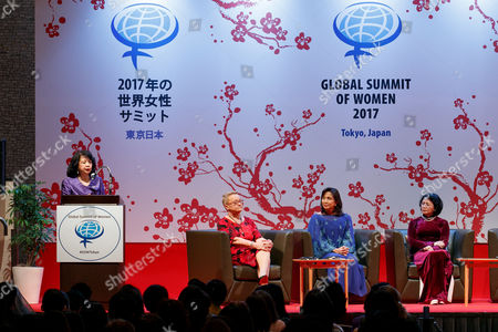 Summit President Irene Natividad, Henryka Bochniarz President of Lewiatan, Vice President of Philippines Leni Robredo and Vice President of Vietnam Dang Thi Ngoc Thinh, pose for cameras during the 2017 Global Summit of Women, Tokyo, Japan.
