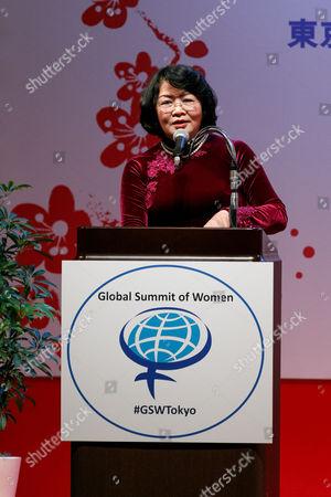 Vice President of Vietnam Dang Thi Ngoc Thinh speaks during the 2017 Global Summit of Women, Tokyo, Japan.