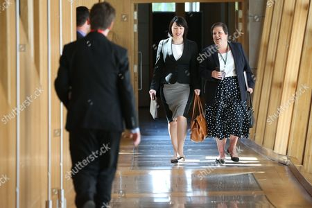 Monica Lennon and Jackie Baillie make their way to the Debating Chamber