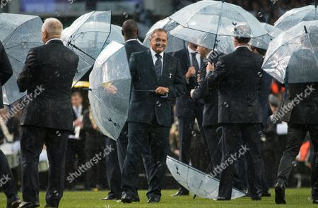 Gary Mabbutt enjoying the farewell ceremony in torrential rain on the pitch at White Hart Lane