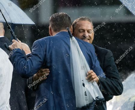 Gary Mabbutt greets Chris Waddle 