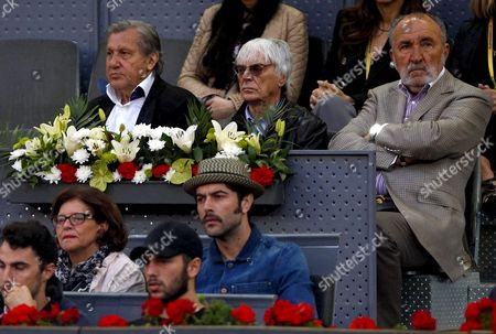 Ilie Nastase and Bernie Eccleston join Ion Tiriac watching the action at the Mutua Madrid Open, Madrid, Spain on Thursday, May 11th, 2017