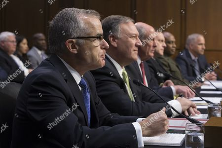Acting FBI Director Andrew McCabe (L) and other intelligence leaders appear before the Senate Select Committee on Intelligence hearing on 'World Wide Threats', on Capitol Hill in Washington, DC, USA, 11 May 2017. Senate Democrats have strongly criticized US President Donald J. Trump's firing of James Comey as Director of the FBI. Some Senators are calling for the appointment of a special prosecutor to take over the inquiry into Russia's interference in the US presidential election of 2016. Also in this picture (L to R); CIA Director Mike Pompeo, Director of National Intelligence Daniel Coats, National Security Agency Director Admiral Mike Rogers, Defense Intelligence Agency Director Lieutenant General Vincent Stewart and National Geospatial-Intelligence Agency Director Robert Cardillo.