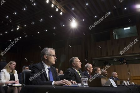 Intelligence leaders appear before the Senate Select Committee on Intelligence hearing on 'World Wide Threats', on Capitol Hill in Washington, DC, USA, 11 May 2017. Senate Democrats have strongly criticized US President Donald J. Trump's abrupt firing of James Comey as Director of the FBI. Some Senators are calling for the appointment of a special prosecutor to take over the inquiry into Russia's interference in the US presidential election of 2016. In this picture (L to R); Acting FBI Director Andrew McCabe, CIA Director Mike Pompeo, Director of National Intelligence Daniel Coats, National Security Agency Director Admiral Mike Rogers, Defense Intelligence Agency Director Lieutenant General Vincent Stewart and National Geospatial-Intelligence Agency Director Robert Cardillo.