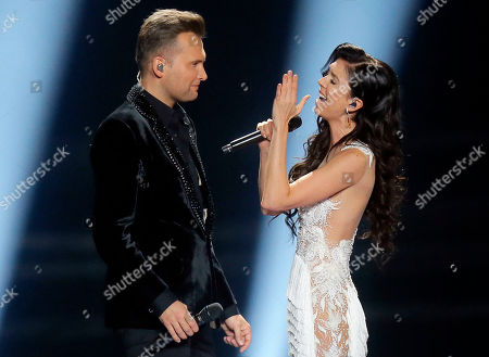 """Koit Toome & Laura from Estonia perform the song """"Verona"""" during the second Semifinal for the Eurovision Song Contest, in Kiev, Ukraine"""
