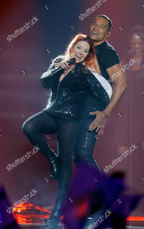 """Valentina Monetta & Jimmie Wilson from San Marino performs the song """"Spirit Of The Night during the second Semifinal for the Eurovision Song Contest, in Kiev, Ukraine"""
