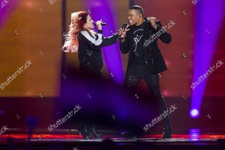 Stock Image of Valentina Monetta and Jimmie Wilson of San Marino perform their song 'Spirit of the Night'