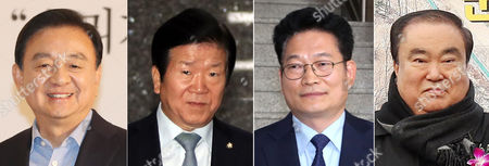 An undated combination photograph made available on 12 May 2017 shows (L-R) Hong Seok-hyun (L), the former head of a local cable TV channel JTBC who was tapped as South Korean President Moon Jae-in's special envoy to the United States; Representative Park Byeong-seug of the Democratic Party who was designated as Moon's special envoy to China; Representative Song Young-gil of the Democratic Party as the special envoy to Russia and Representative Moon Hee-sang of the Democratic Party as the special envoy to Japan.