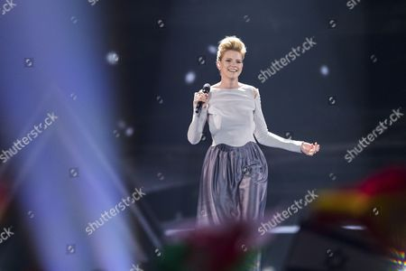 "Isabella Lueen of Germany performs her song ""Perfect Life"" at the grand final show of the Eurovision Song Contest 2017 in Kiev, Ukraine on May 13, 2017."