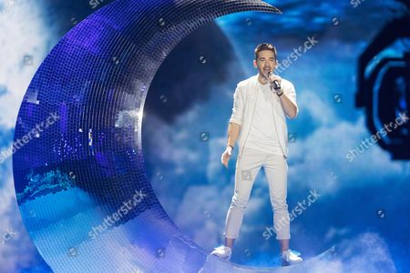 """Nathan Trent of Austria performs his song """"Running on Air"""" at the grand final show of the Eurovision Song Contest 2017"""