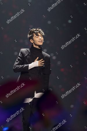 "Kristian Kostov of Bulgaria performs his song ""Beautiful Mess"" at the grand final show of the Eurovision Song Contest 2017"
