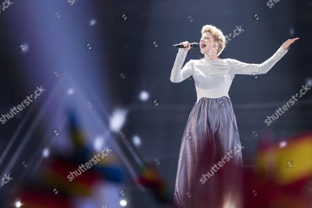 "Isabella Lueen of Germany performs her song ""Perfect Life"" at the grand final show of the Eurovision Song Contest 2017"
