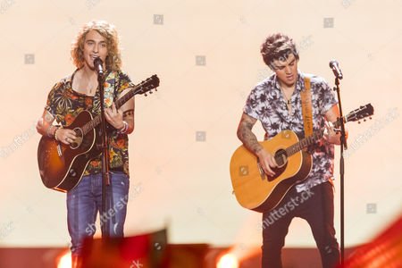 """Manel Navarro of Spain performs his song """"Do It for Your Lover"""" at the grand final final show of the Eurovision Song Contest 2017"""