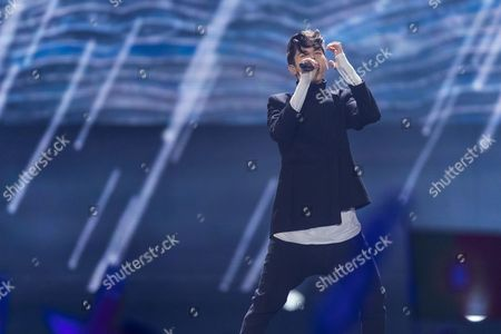 "Kristian Kostov of Bulgaria performs his song ""Beautiful Mess"" at the grand final show of the Eurovision Song Contest 2017 in Kiev, Ukraine on May 13, 2017."