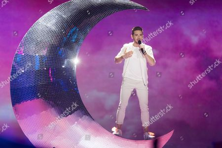 """Nathan Trent of Austria performs his song """"Running on Air"""" at the grand final show of the Eurovision Song Contest 2017 in Kiev, Ukraine on May 13, 2017."""