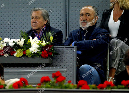 Ilie Nastase and Ion Tiriac watch the action at the Mutua Madrid Open, Madrid, Spain on Friday, May 12th, 2017