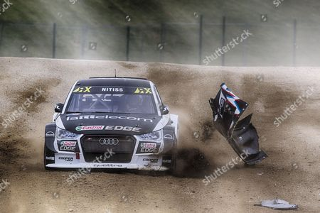 Reinis Nitiss, EKS Performance AB avoids the debris of Ken Block, Hoonigan Racing Division vehicle during WRX 2017 Round Four Practice & Qualifying at Circuit Jules Tacheny on 12th May 2017