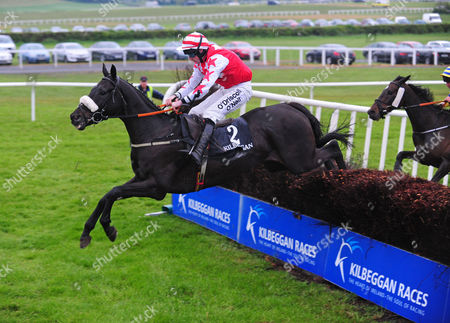 KILBEGGAN BLACK ZAMBEZI and Roger Loughren jump the last to win the Sean Hughes Memorial Mullingar Park Hotel Beginners Steeplechase. HEALY RACING