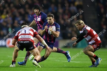 Hugo Bonneval looks to run between Josh Hohneck and Richard Hibbard during the European Rugby Challenge Cup Final match between Gloucester and Stade Francais played at Murrayfield, Edinburgh on 12th May 2017