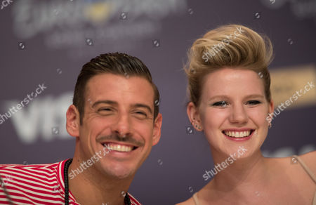 Francesco Gabbani of Italy and Isabella Lueen of Germany during a press conference