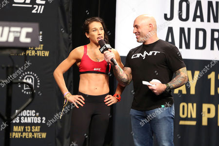 Stock Picture of Joanna Jedrzejczyk, Joe Rogan Joanna Jedrzejczyk is interviewed by Joe Rogan during a weigh-in before UFC 211, in Dallas before UFC 211