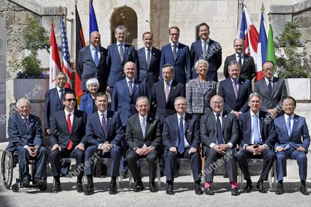 G7 Finance Ministers and Central Bank Governors meeting attendees pose for a group photo during the G7 Ministerial Meeting of Finance in Bari, Italy, 13 May 2017; (First row, top, L-R) OECD Secretary General, Angel Gurria, Governor of the Bank of France, Francois Villeroy de Galhau, Central Bank of the United Kingdom Governor, Mark Carney, President of the Deutsche Bundesbank, Jens Weidmann, President of the Euro Group, Jeroen Dijsselbloem, (second row, L-R) Haruiko Kuroda, Governor of the Central Bank of Japan, US Federal Reserve Chair Janet Yellen, European commissioner of Economic and Financial Affairs, Pierre Moscovici, President of the European Central Bank (ECB), Mario Draghi, Managing Director of the International Monetary Fund (IMF), Christine Lagarde, Bank of Canada Governor, Stephen Shawn Poloz, World Bank President Jim Yong Kim, (third row, bottom, L-R) German Finance Minister Wolfgang Schauble, Secretary US Treasury Steven Mnuchin, Canadian Finance Minister, William Morneau, Italian Economy Minister, Pier Carlo Padoan, Bank of Italy Governor Ignazio Visco, French Minister for Economy and Finance, Michel Sapin, Minister of Finance of the United Kingdom, Philip Hammond, and Japan's Finance Minister, Taro Aso. The G7 Finance Ministers and Central Bank Governors meeting is taking place in Bari from 11 to 13 May 2017.