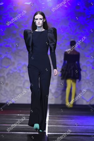Model on the catwalk showcasing Greta Constantine's Fall 2017 collection