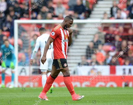 Victor Anichebe of Sunderland goes off after being substituted in the first half during the Premier League match between Sunderland and Swansea City played at Stadium of Light, Sunderland on 13th May 2017
