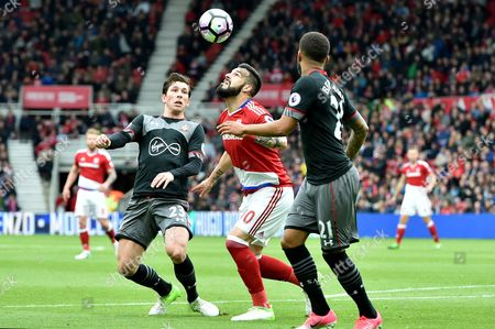 Alvaro Negredo of Middlesbrough tries to find space in the penalty area as Pierre-Emile Hojbjerg of Southampton challenges during the Premier League match between Middlesbrough and Southampton played at The Riverside Stadium, Middlesbrough on Saturday the 13th of May 2017