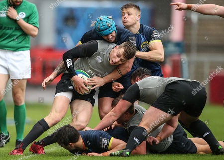Munster Rugby Development vs Ireland Under 20's. Munster's Ross O?Neill tackles Liam Coombes of Ireland Under 20's
