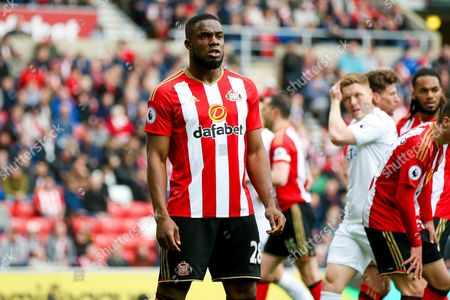 Stock Image of Sunderland forward Victor Anichebe (28) defends a corner  during the Premier League match between Sunderland and Swansea City at the Stadium Of Light, Sunderland