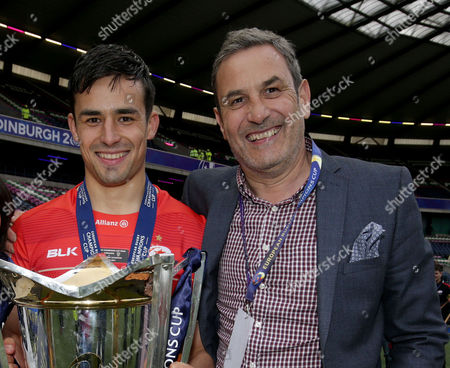 Alex Lozowski of Saracens with his father Rob Lozowski the former England payer