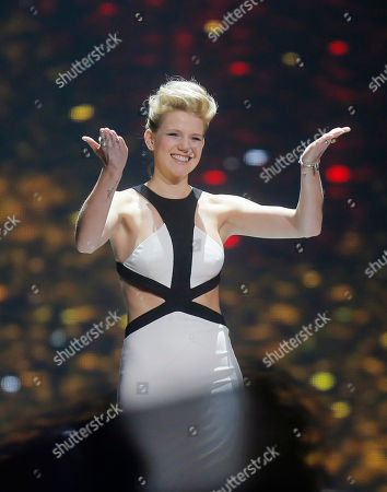 Isabella Lueen from Germany is introduced during the Final for the Eurovision Song Contest, in Kiev, Ukraine