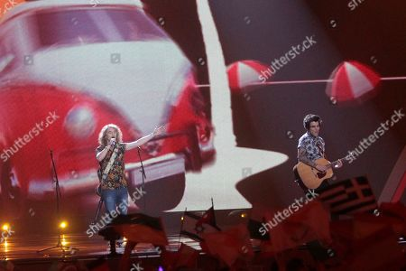 """Stock Image of Manel Navarro, left, from Spain performs the song """"Do It for Your Lover"""" during the Final for the Eurovision Song Contest, in Kiev, Ukraine"""