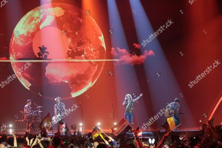 """Stock Photo of Manel Navarro, second from right, from Spain performs the song """"Do It for Your Lover"""" during the Final for the Eurovision Song Contest, in Kiev, Ukraine"""