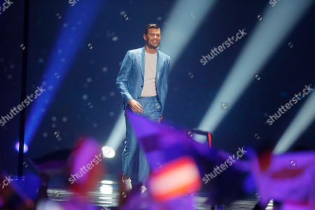 Robin Bengtsson is introduced during the Final for the Eurovision Song Contest, in Kiev, Ukraine
