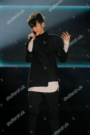 "Kristian Kostov from Bulgaria performs the song ""Beautiful Mess"" during the Final for the Eurovision Song Contest, in Kiev, Ukraine"