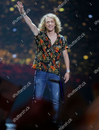 Manel Navarro from Spain is introduced during the Final for the Eurovision Song Contest, in Kiev, Ukraine