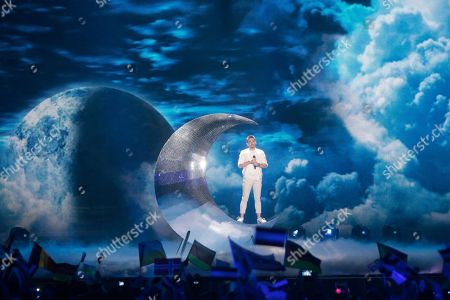 """Nathan Trent from Austria performs the song """"Running on Air"""" during the Final for the Eurovision Song Contest, in Kiev, Ukraine"""