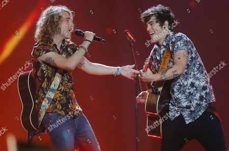 """Manel Navarro from Spain, left, performs the song """"Do It for Your Lover"""" during the Final for the Eurovision Song Contest, in Kiev, Ukraine"""