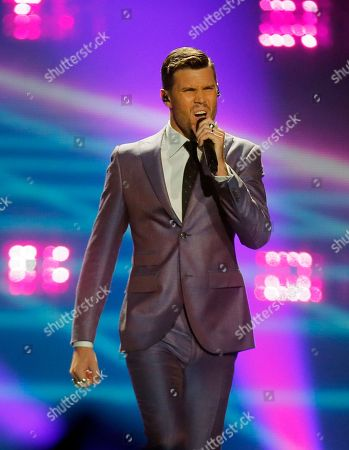 """Robin Bengtsson from Sweden performs the song """"I Can't Go On""""during the Final for the Eurovision Song Contest, in Kiev, Ukraine"""