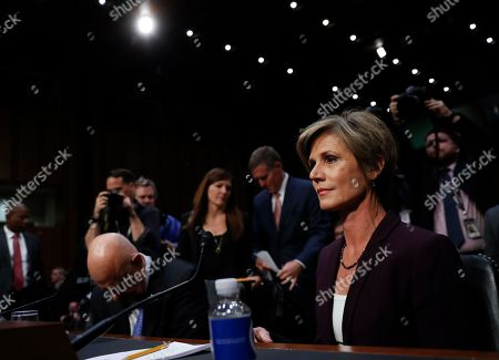 """James Clapper, Sally Yates Former acting Attorney General Sally Yates, right, and former National Intelligence Director James Clapper, arrive to testify on Capitol Hill in Washington, before the Senate Judiciary subcommittee on Crime and Terrorism hearing: """"Russian Interference in the 2016 United States Election"""