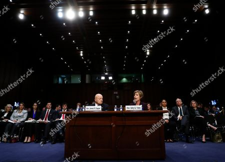 """James Clapper, Sally Yates Former acting Attorney General Sally Yates, right, and former National Intelligence Director James Clapper, testify on Capitol Hill in Washington, during the Senate Judiciary subcommittee on Crime and Terrorism hearing: """"Russian Interference in the 2016 United States Election"""