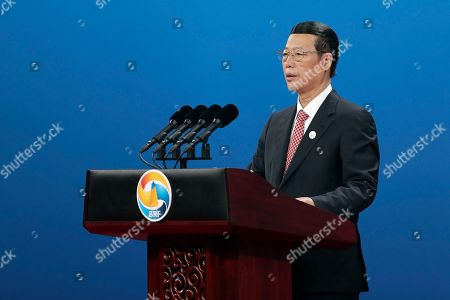 Chinese Vice Premier Zhang Gaoli speaks during the Belt and Road Forum for International Cooperation in Beijing