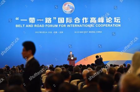 Chinese Vice Premier Zhang Gaoli delivers a speech on Plenary Session of High-Level Dialogue, at the Belt and Road Forum in Beijing