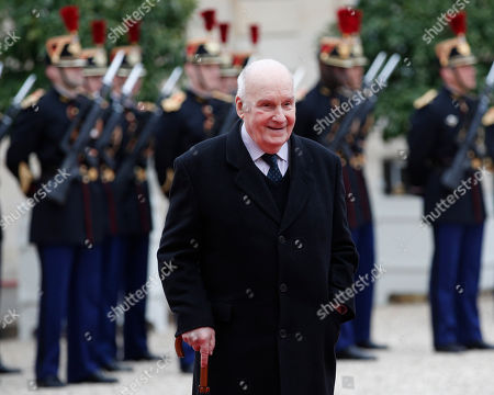 Actor Michel Bouquet arrives at the Elysee Palace, in Paris. Emmanuel Macron was inaugurated Sunday as France's new president at the Elysee palace in Paris, and immediately launched into his mission to shake up French politics, world economics and the European Union