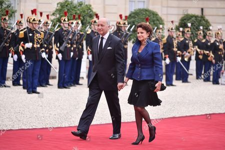 Stock Picture of Laurent Fabius and wife Francoise Castro
