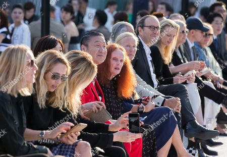 Kansai Yamamoto, fourth from left, and Grace Coddington, fifth from left, attend the Louis Vuitton Cruise 2018 Collection at Miho Museum in Koka, Shiga Prefecture, western Japan