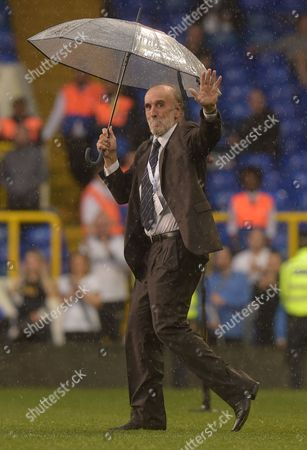 Stock Photo of Ricky Villa waves to fans during a post-match ceremony during the Premier League match between Tottenham Hotspur and Manchester United played at White Hart Lane, London on 14th May 2017